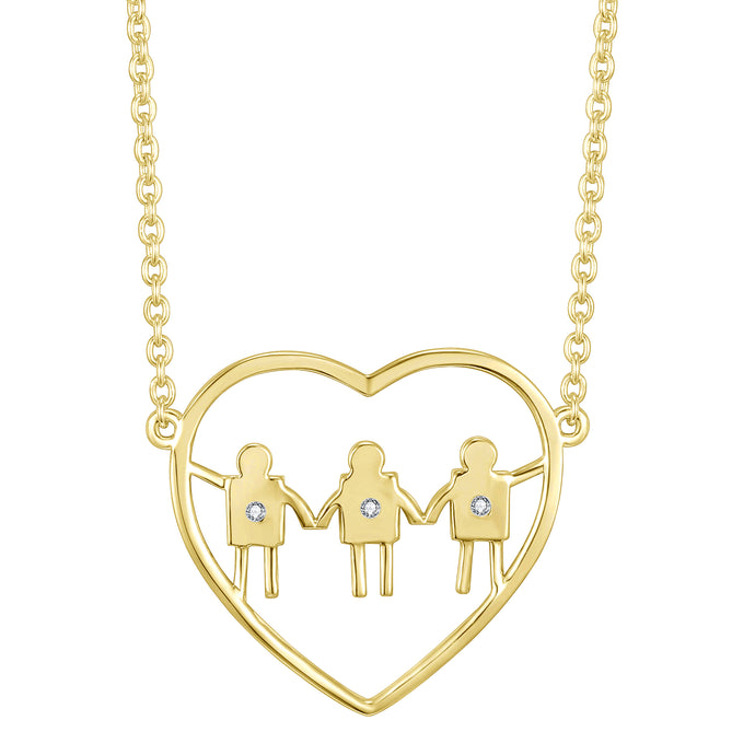 Mom and sons. Perfect gift for a mom with three boys. Celebrate heart necklace.