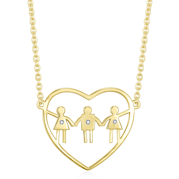 Mom with daughters and son. Perfect gift for a mom of two girls and a boy. Celebrate heart necklace.