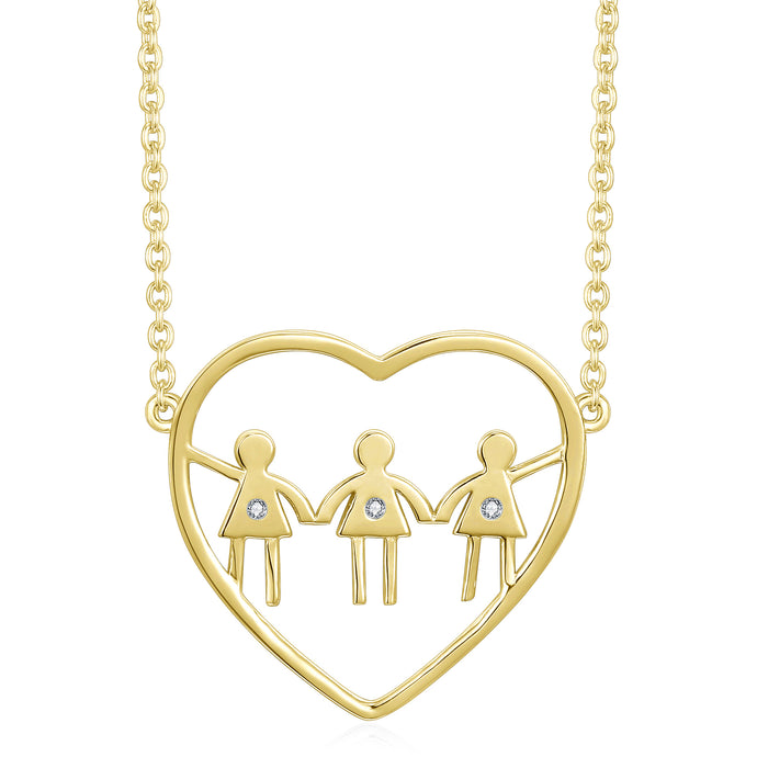 Three girls heart necklace