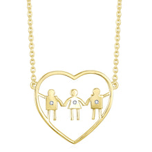 Mom with sons and daughter. Perfect gift for a mom with two boys and a girl. Celebrate heart necklace.