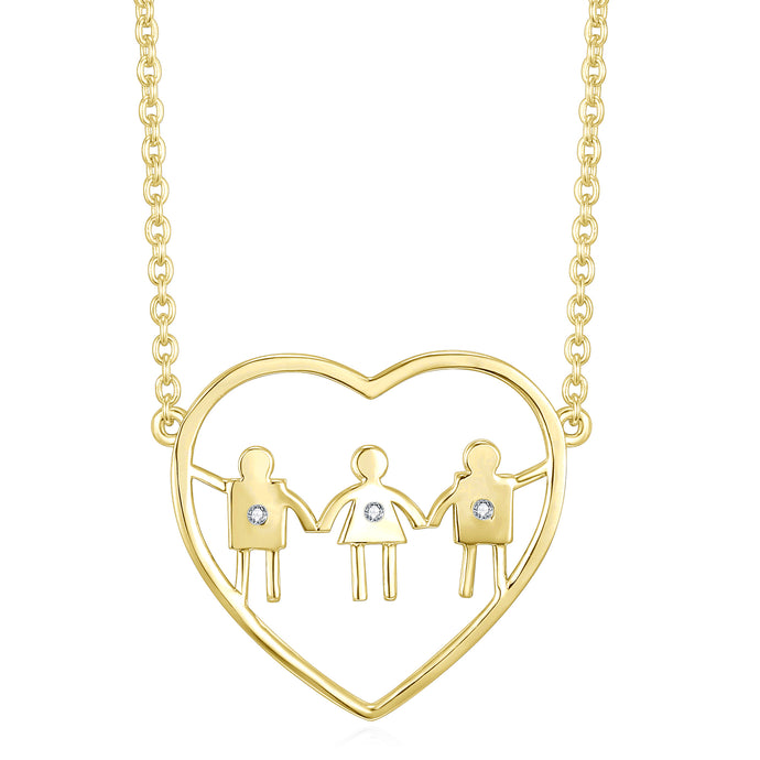 Two boys and a girl heart necklace