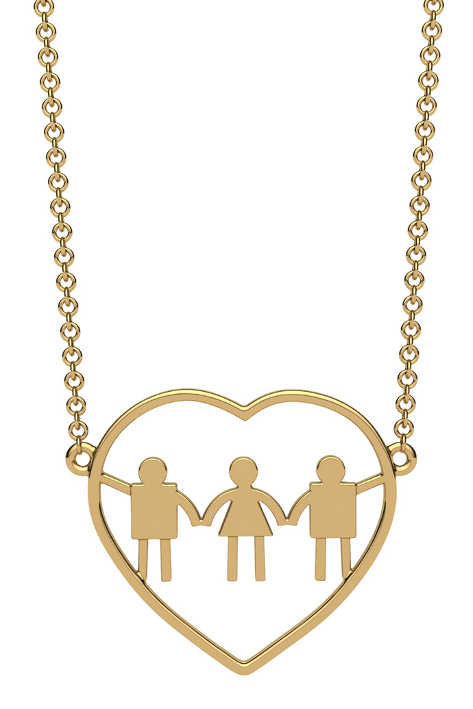 For a mom of two boys and one girl. In 14k gold.