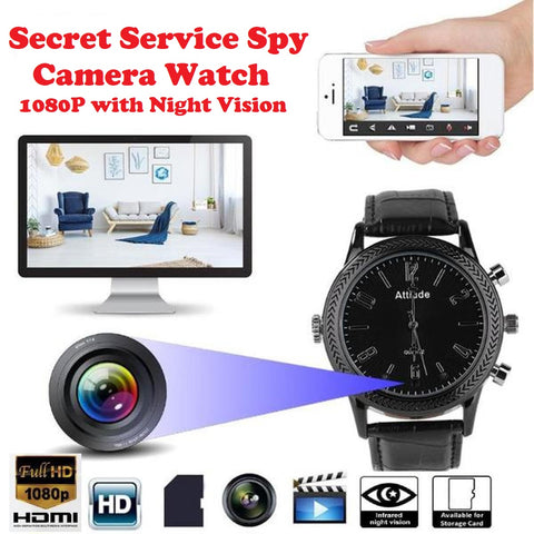 Secret Service Spy Camera Watch - 1080P Full HD with Infrared Night Vision
