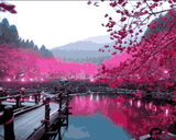 Amazing Places (114) - Cherry Blossom Lake, Japan - Van-Go Paint-By-Number Kit