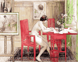 Model Writing Postcards by Carl Larsson (126) - Van-Go Paint-By-Number Kit