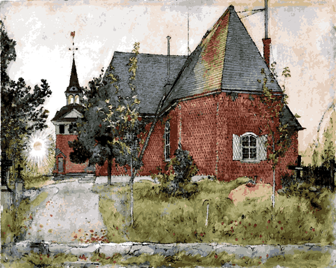 Old Sundborn Church by Carl Larsson (130) - Van-Go Paint-By-Number Kit