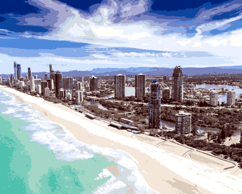 Amazing Places (187) - Gold Coast, Australia - Van-Go Paint-By-Number Kit