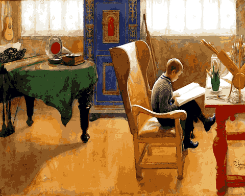 Esbjorn in the Study Corner by Carl Larsson (18) - Van-Go Paint-By-Number Kit