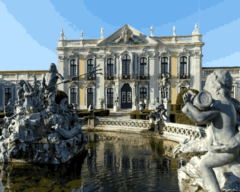 European Castles (222) - Queluz National Palace, Portugal - Van-Go Paint-By-Number Kit