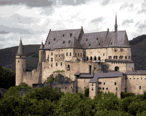 European Castles (246) - Vianden Castle, Luxemburg - Van-Go Paint-By-Number Kit