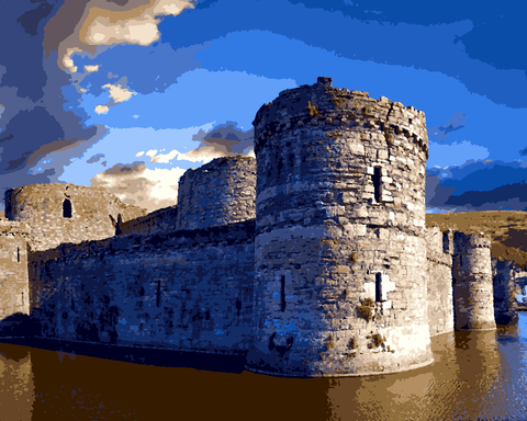 European Castles (263) - Beaumaris Castle, Wales - Van-Go Paint-By-Number Kit