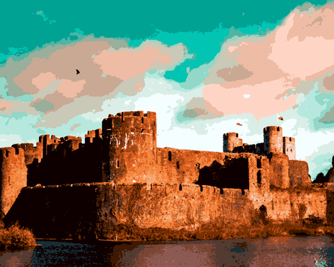 European Castles (272) - Caerphilly Castle, Wales - Van-Go Paint-By-Number Kit