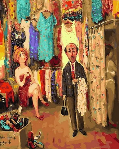 A Clothes Shop by Georgian Artist Lado Tevdoradze - Van-Go Paint-By-Number Kit