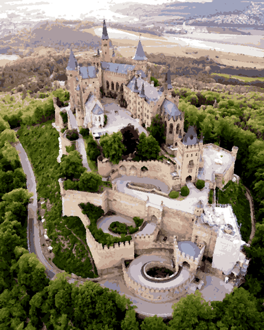 European Castles (339) - Hohenzollern Castle, Germany - Van-Go Paint-By-Number Kit