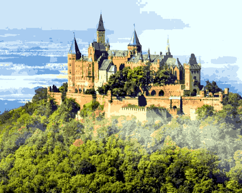 European Castles (344) - Hohenzollern Castle, Germany - Van-Go Paint-By-Number Kit
