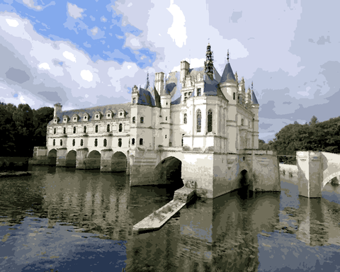 European Castles (37) - Château de Chenonceau, France - Van-Go Paint-By-Number Kit
