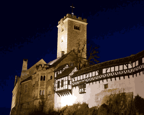 European Castles (448) - Wartburg Castle, Germany - Van-Go Paint-By-Number Kit