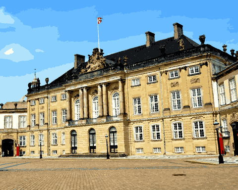 European Castles (475) - Amalienborg Palace, Denmark - Van-Go Paint-By-Number Kit