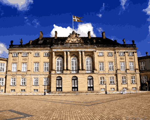 European Castles (478) - Amalienborg Palace, Denmark - Van-Go Paint-By-Number Kit