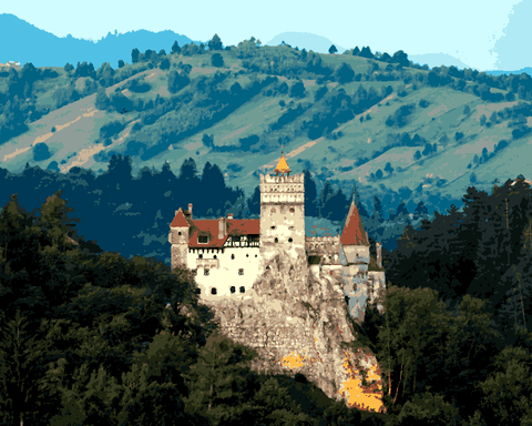 European Castles (486) - Bran Castle, Romania - Van-Go Paint-By-Number Kit