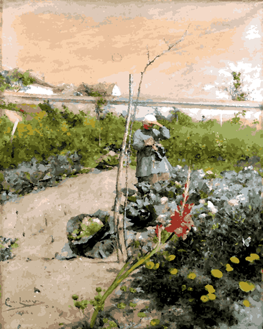 In the Kitchen Garden by Carl Larsson (59) - Van-Go Paint-By-Number Kit