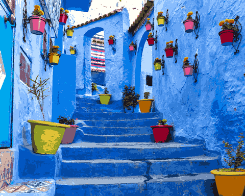 Amazing Places (613) - Chefchaouen, Morocco - Van-Go Paint-By-Number Kit