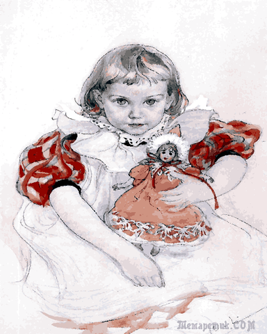 Little girl with doll by Carl Larsson (65) - Van-Go Paint-By-Number Kit