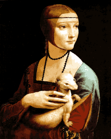 Famous Portraits (83) - The lady with an ermine by Leonardo da Vinci - Van-Go Paint-By-Number Kit