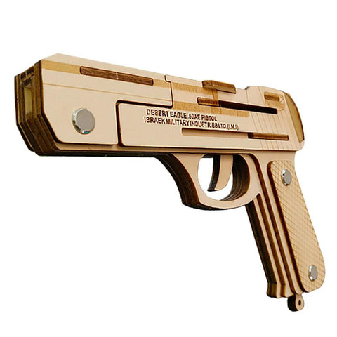 Elastic Accuracy: Semi-Automatic Wooden Rubber Band Desert Eagle Hand Gun - MaxStore4U