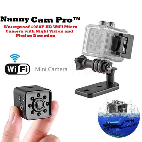 Nanny Cam Pro™ - Waterproof 1080P HD WiFi Micro Camera with Night Vision and Motion Detection