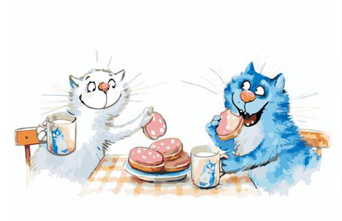 A Dinner, my Love - Blue Cats by Irina Zenyuk - Van-Go Paint-By-Number Kit - MaxStore4U