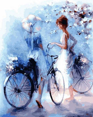 Two Ladies with Bikes Meet in the Park - Van-Go Paint-By-Number Kit