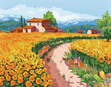 Village Villa in Tulips Field - Van-Go Paint-By-Number Kit