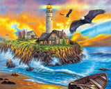 Lighthouse at Sunset with Flying Eagles - Van-Go Paint-By-Number Kit