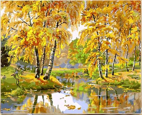 Riverside Autumn Trees - Van-Go Paint-By-Number Kit