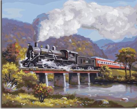 Vintage Steam Train Passing A Bridge - Van-Go Paint-By-Number Kit