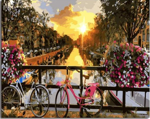 Amsterdam Canal Landscape - Van-Go Paint-By-Number Kit - MaxStore4U