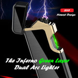The Inferno Green Laser Dual Arc Lighter - No Gas, Wind&Water proof, Rechargeable
