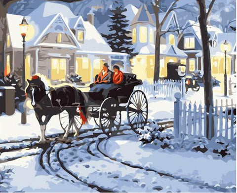 Ridding a Carriage on a Snowy Day - Van-Go Paint-By-Number Kit