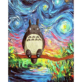 Totoro in a Starry Night Van Gogh Mashup - Van-Go Paint-By-Number Kit