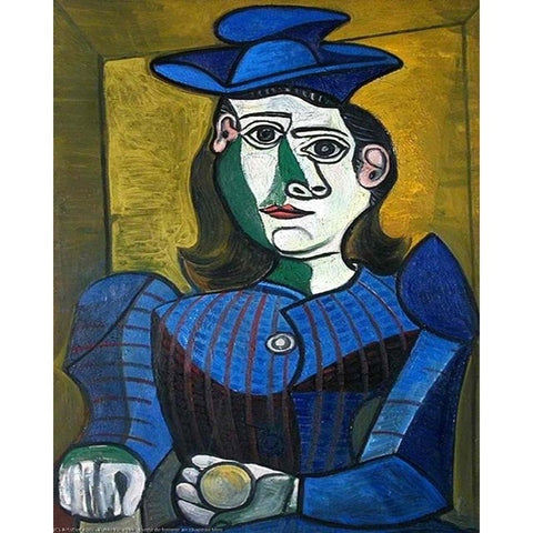 A bust of a woman in a blue hat by Pablo Picasso (3) - Paint-By-Number Kit