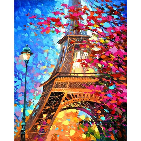 Eiffel Tower In Fall Day - Van-Go Paint-By-Number Kit