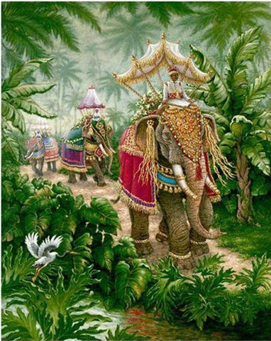 Thai King Elephant Ride - Van-Go Paint-By-Number Kit