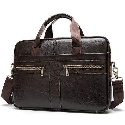 Genuine Leather Laptop Crossbody Briefcase Bag