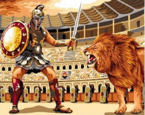 Gladiator fighting a Lion - Van-Go Paint-By-Number Kit