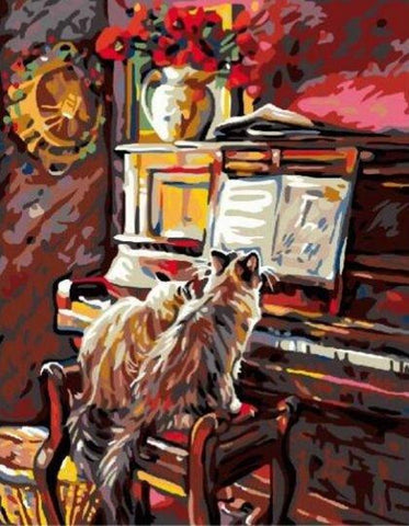 Cats Playing the Piano - Van-Go Paint-By-Number Kit - MaxStore4U