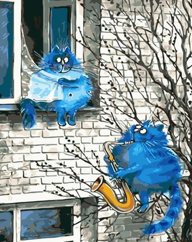 Love melody - Blue Cats - Van-Go Paint-By-Number Kit