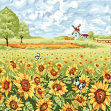 Windmill in a Sunflowers Field - Van-Go Paint-By-Number Kit
