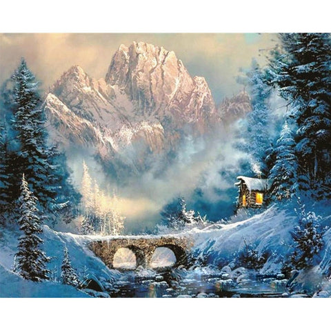 A Little Cabin in the Snowy Mountains - Van-Go Paint-By-Number Kit