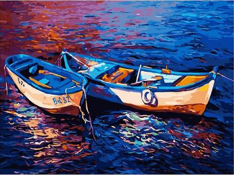 Two Boats Moored in the Blue Ocean - Van-Go Paint-By-Number Kit